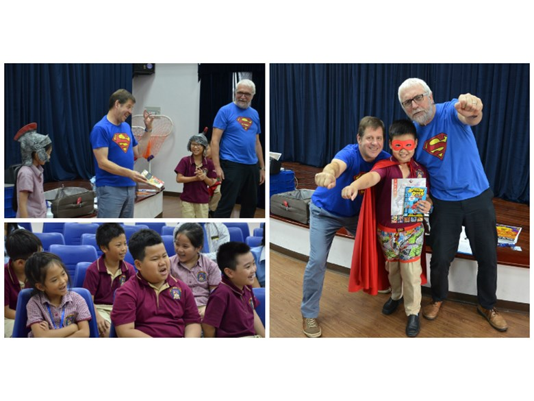 The 2 Steves visit BVIS Primary (1)