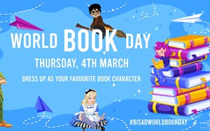 Poster to promote world book day with image of books and characters reading