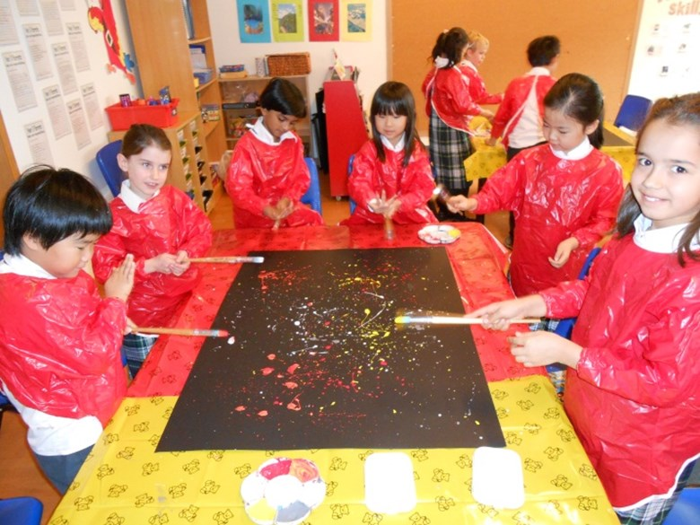 Group of Year 3 students painting a volcanic night sky.
