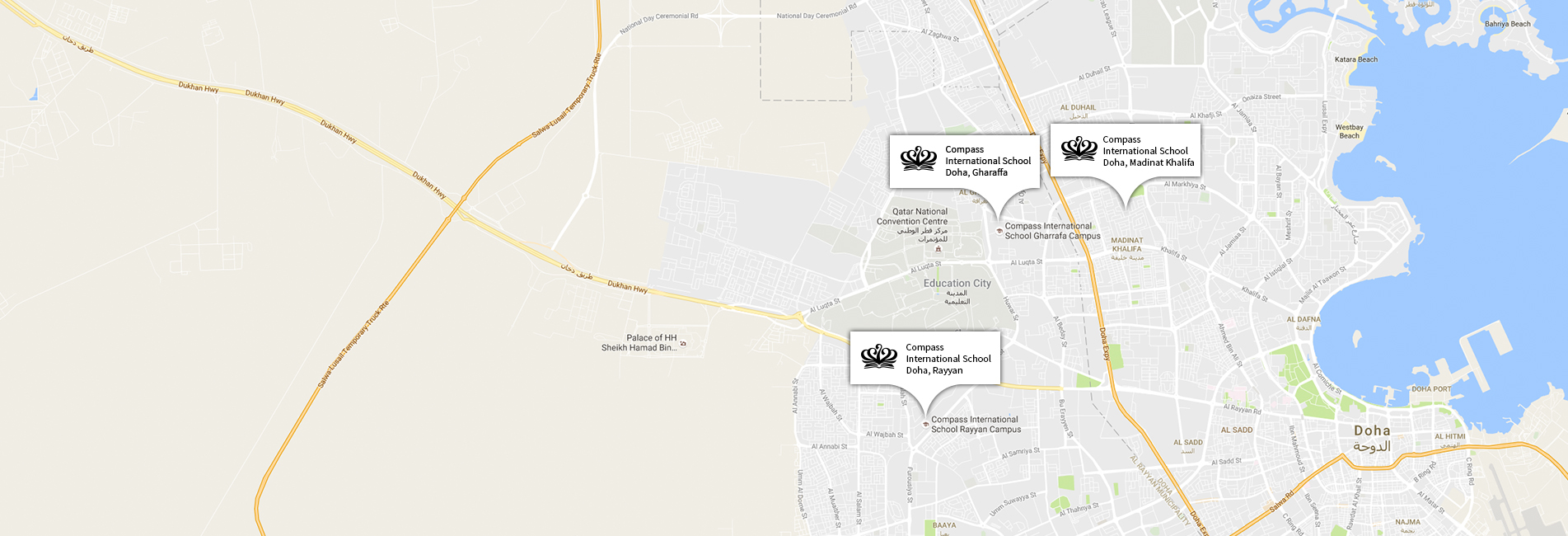 a map of the doha schools location