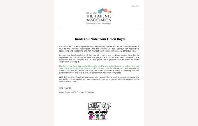 Thank you note - Helen Boyle
