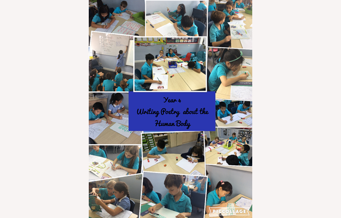 Year 4 writing poetry about the human body