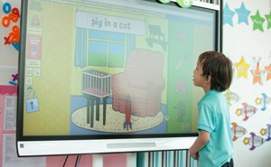 Student with interactive board