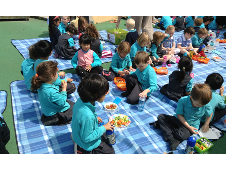 Reception children at the British International School Shanghai, Puxi learn about being healthy and getting fit.