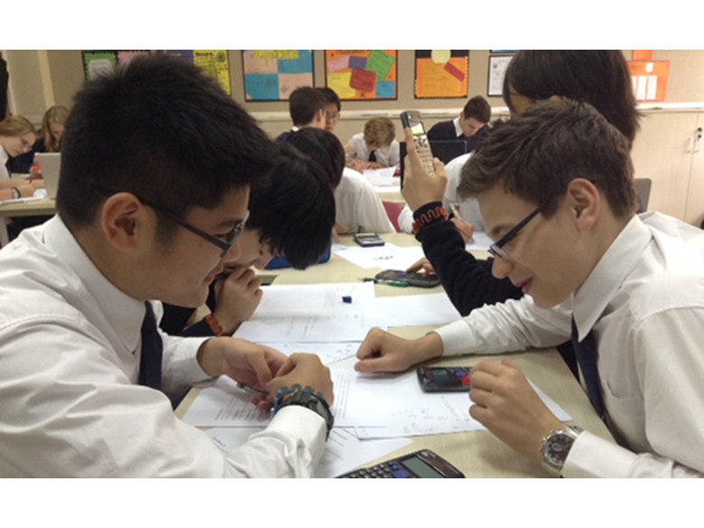 Students from the British International School Shanghai, Puxi taking part in the Purple Comet Maths Meet
