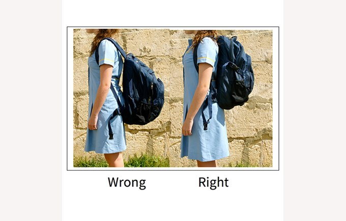 Wrong vs right backpack position and posture