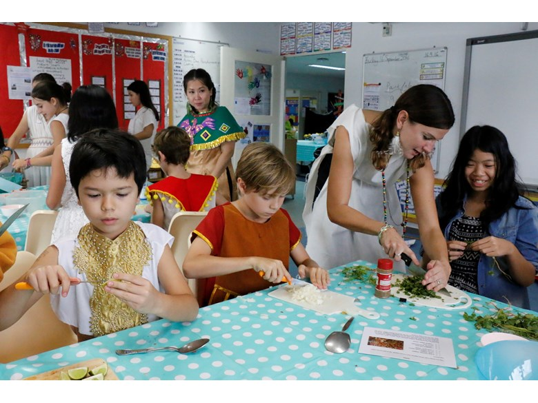 St. Andrews International School Bangkok students preparing traditional Aztec food.