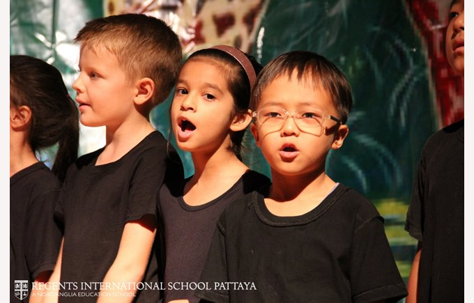 Their best school performance │ Primary students on stage at Regents International School Pattaya in Thailand