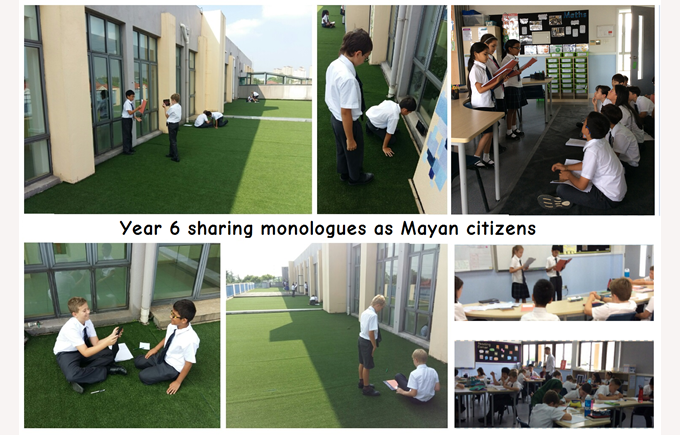 Year 6 sharing monologues as Mayan citizens