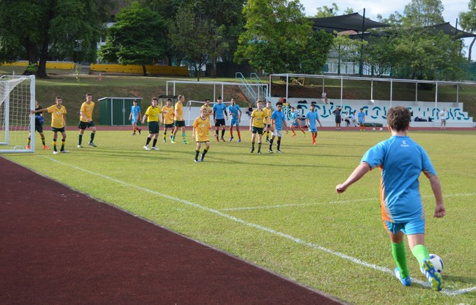 DCIS Under 16 Boys Football Action against AIS