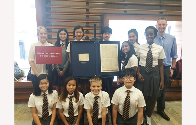 BSG students with the Magna Carta