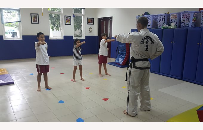 Martial arts sessions with instructor and three students