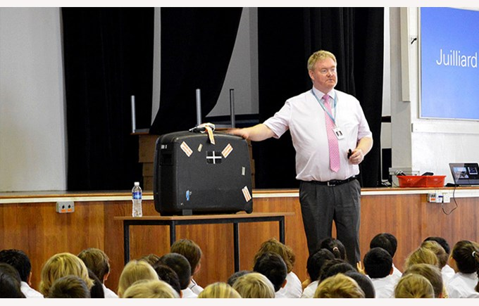 Principal Christopher Short at Upper Primary Assembly