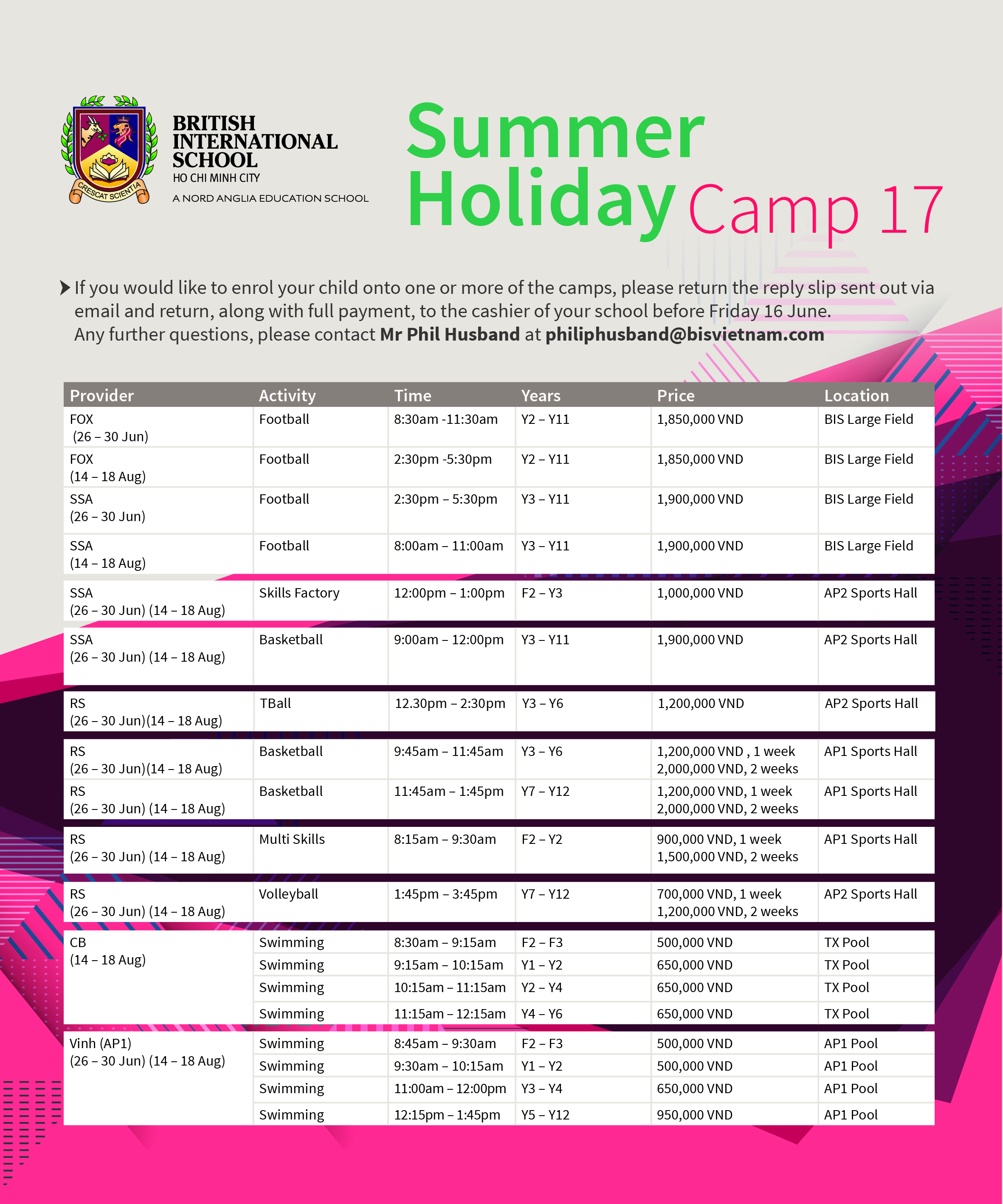 Summer Sports Holiday Camp 2017 at British International School HCMC