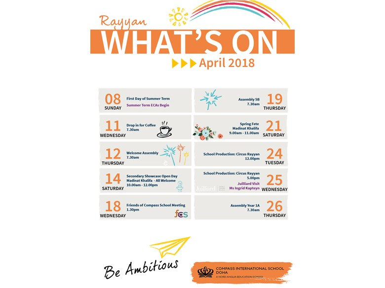 Rayyan What's on in April