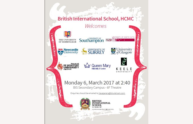British International School, HCMC, welcomes 9 UK Universities to a public information session
