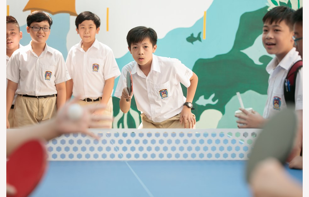 BVIS Secondary Students play table tennis at school