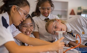 Girls in Science class