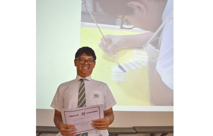 Daniel receives his Certificate for 2nd Prize in the VCA Art Competition