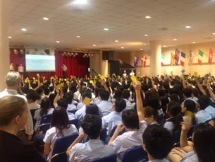 Students engaged in Peace Assembly Sept 2015