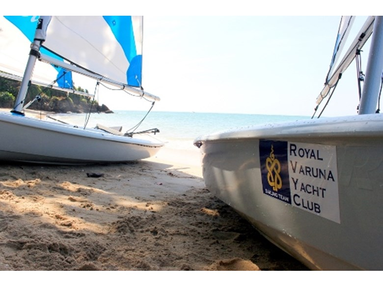 Boats on the shore at the Royal Varuna Yacht Club