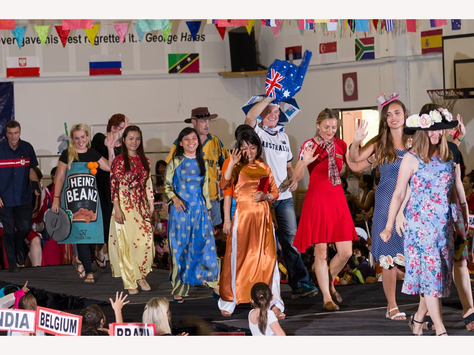 Teachers parading in AP1 International Week Assembly
