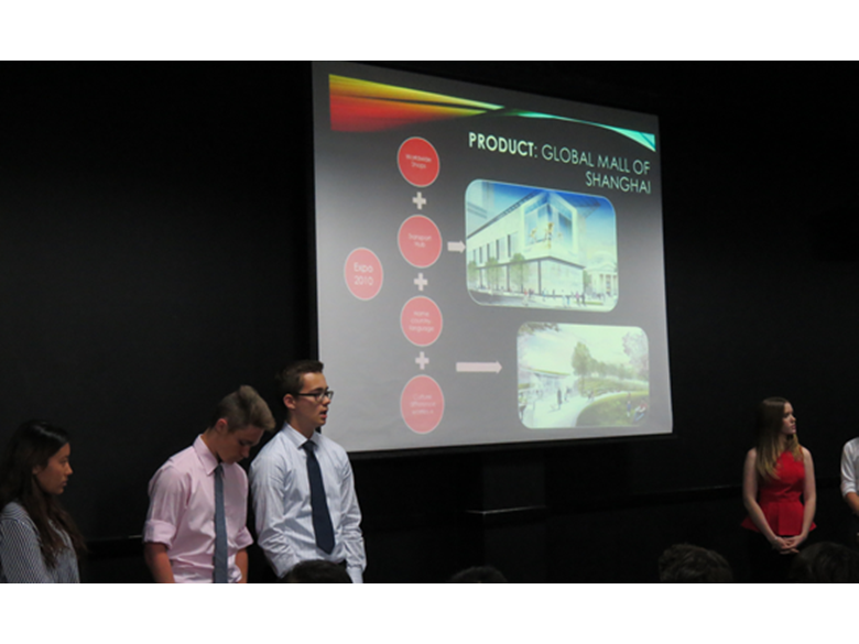 Year 10 students at the British International School Shanghai take part in a Dragons' Den challenge