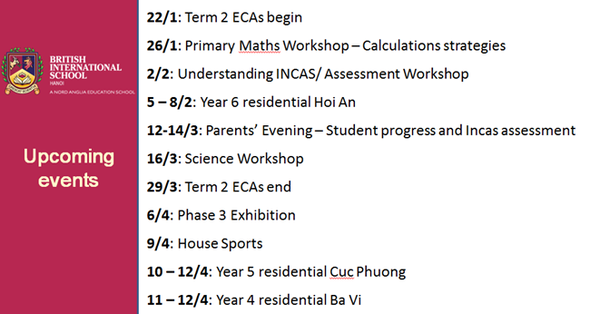 Calendar British International School Hanoi