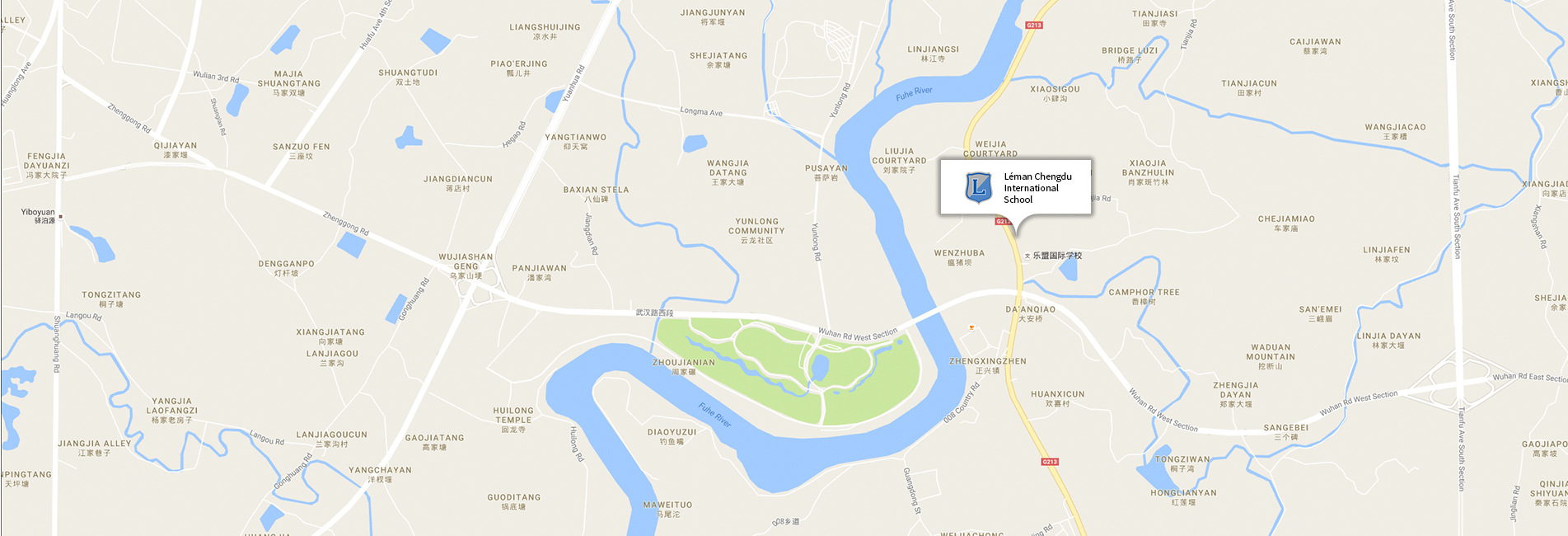 Map showing the location of Léman Chengdu International School