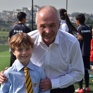 Sven Goran Eriksson visiting the school.