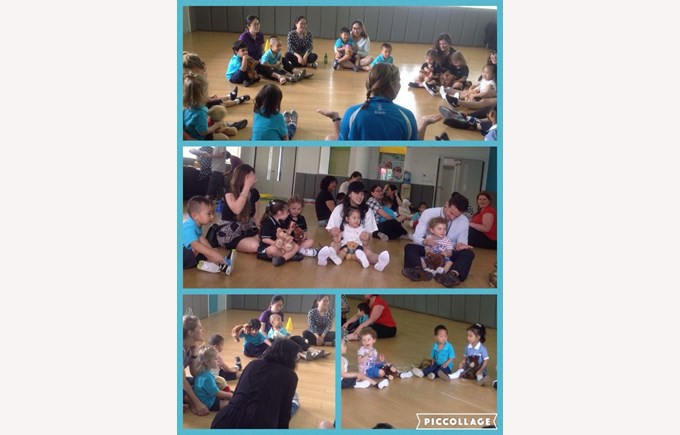 PN2 enjoying their teddy bear's picnic