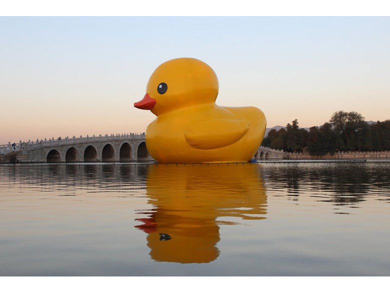 Giant rubber duck greets visitors at the Summer Palace