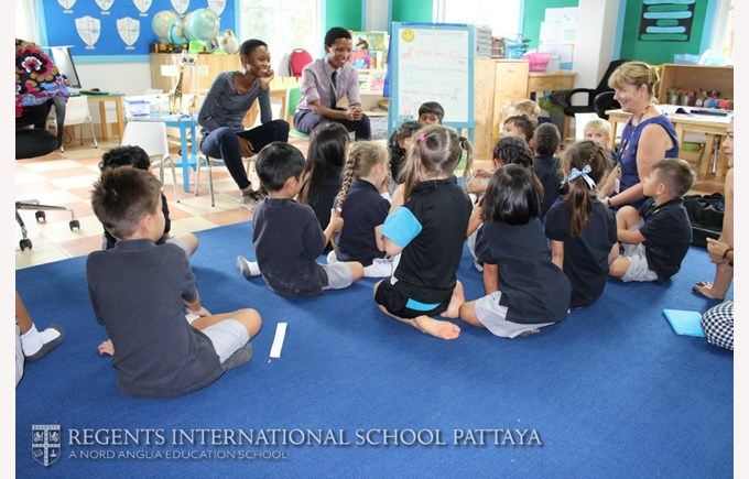 Year 1 interviewing gap staff about Africa, Regents International School Pattaya