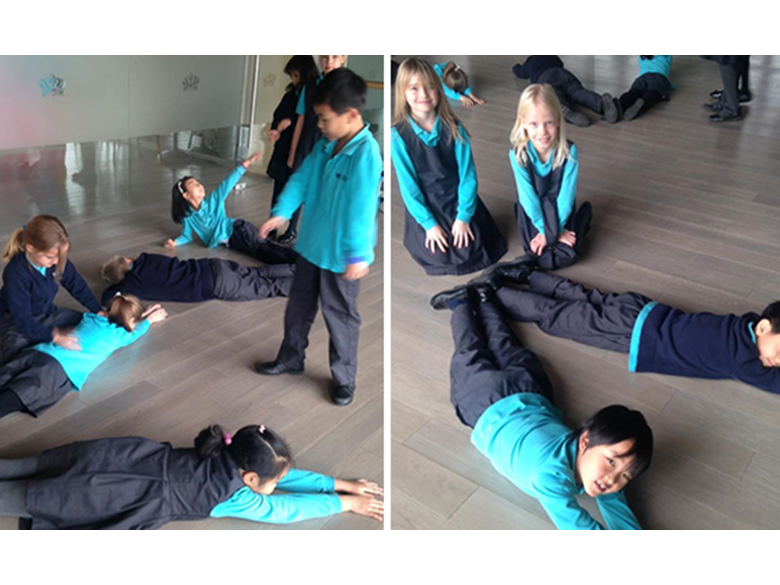 Year 3 students at the British International School Shanghai, Puxi getting active with angles