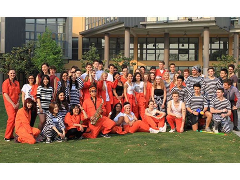 Year 13 students from the British International School Shanghai, Puxi celebrate their final day before exams.