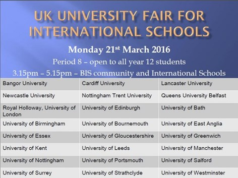 UK University Fair for International Schools March 2016