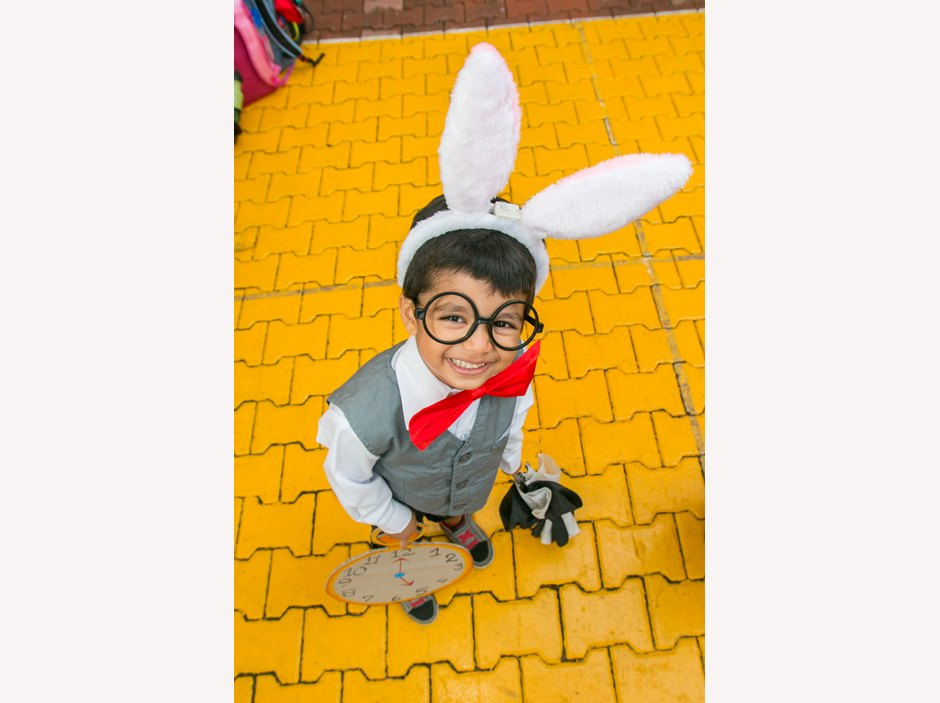 One kid dressed up as a rabbit at AP1 Book Week