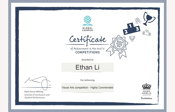 Ethan Li Visual Arts Competition Certificate