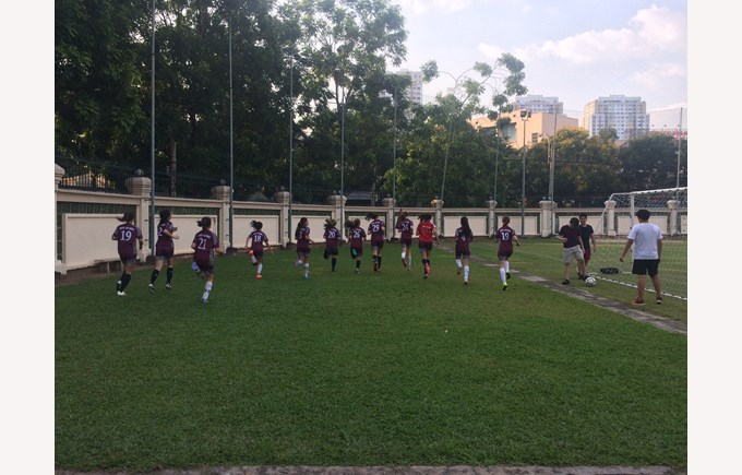 U14a Girls Football warm up at British International School HCMC