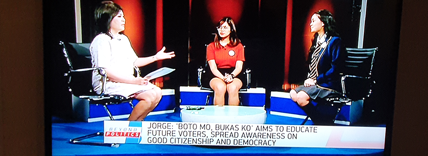 Students chatting on local television