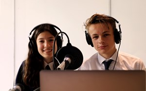 Podcast students, Eli and Angelina