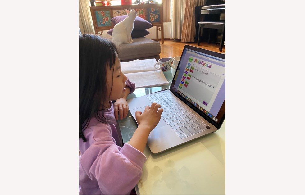 Dora playing a Phonics game online