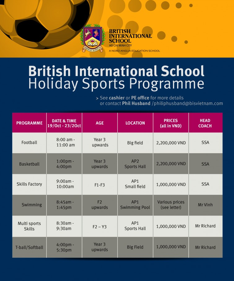 BIS Holiday Sports programme Oct 2015