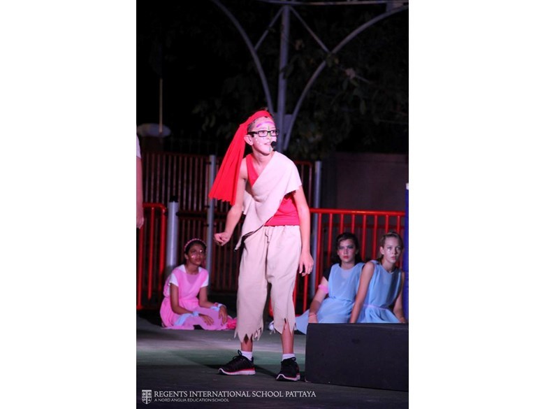 Caliban from 'The Tempest', KS3 drama production 2016. Regents International School Pattaya