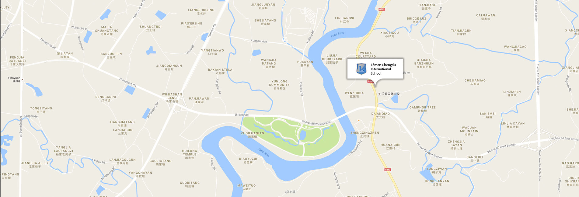 Map showing the location of Léman International School Chengdu
