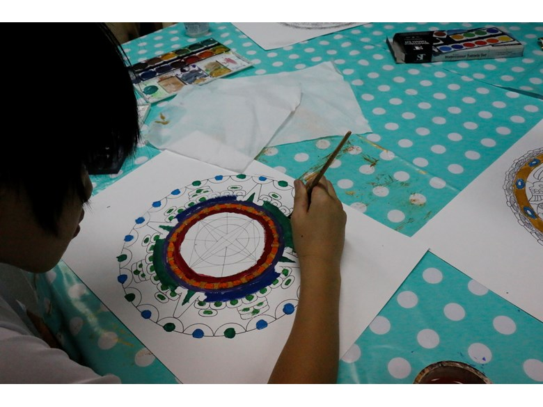 St. Andrews International School Bangkok students creating traditional Aztec art.