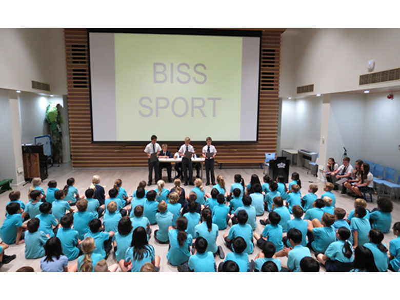 Year 7 students at the British International School Shanghai, Puxi telling year 6 about life in secondary school