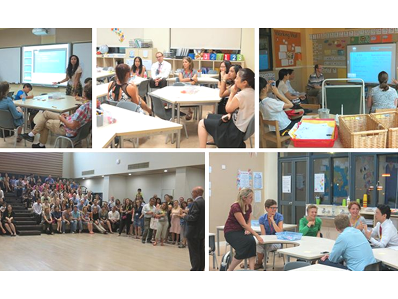 Parents and staff getting to know each other at the BISS Puxi primary school Meet and Greet this week.