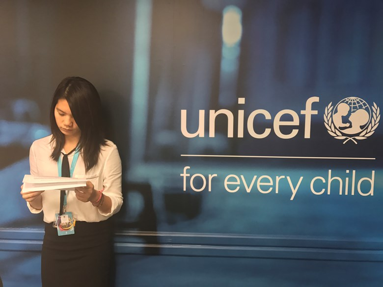 BSB Sabrina getting ready for her speech at UNICEF