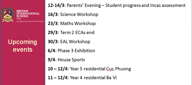 Britist International School Hanoi - Upcoming events